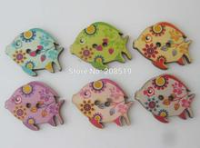 WBNAAG Novelty button Fish Mix 150pcs kid's handicraft sewing accessories natural wooden buttons(China)