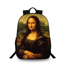 Fashion Special pattern Design Cute Creative Oil Painting Mona lisa School Laptop Backpacks Kitty large Cool Travel School Bags(China)