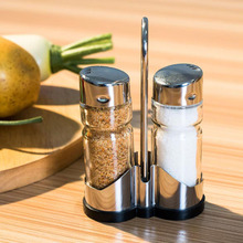 2pcs/set Glass Spice Jar Seasoning Box Salt Sugar Pepper Shaker Condiments Bottle Holder Kitchen Table New product Promotion(China)
