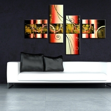 Cheap Group Art Painting Geometric Abstract Oil Painting Texture Acrylic Paint Handmade 4 Panels Wall Art Group Oil Painting