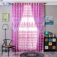 100*250cm Tulle Peony Jacquard Window Screening Curtains Decoration Semi-shading Livingroom Bedroom Burnt-Out Yarn Door Curtain(China)