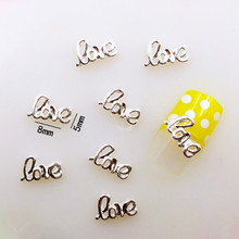 "10Pcs/Lot 5*8mm Beauty Silver English Letter""love"" Metal Alloy Nail Art Decorations 3D DIY Nail Stickers Jewelry Nail Charms"