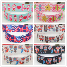 DHK 7/8'' Free shipping valentine sea animals fox printed grosgrain Ribbon headwear hair bow diy party decoration OEM 22mm B1535(China)