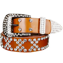 New Coming Lovely Discount Atlas Western Cowgirl Bling Cowgirl Leather Belt Clear Rhinestone Crystak New designer belts women(China)