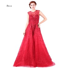 Finove Red Crystal Prom Dresses Elegant With O-Neck Sleeveless See Thought Back Embroidery Ball Gowns Evening Dresses vestidos(China)