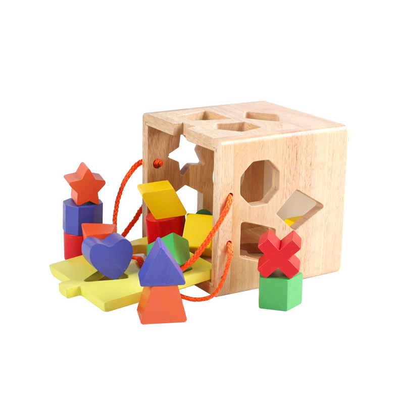 Chanycore  Baby Learning Educational Wooden Toys Geometric Shape Blocks Box Sorting Matching qzm Montessori Kids Gifts 4097<br>