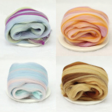 4Pcs 10g/pc Mixed Color Wool For Felting Blanket 66s High Quality Spinning Felt Fiber Filler For Toys(China)