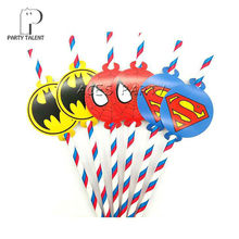 Party supplies 12pcs Super Hero Justice League theme straws party decoration biodegradable paper straw tube eco friendly(China)