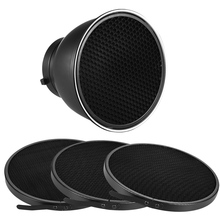 "7"" Standard Reflector Diffuser Lamp Shade Dish with 10/20/30/60 degree Honeycomb Grid for Bowens Mount Studio Flash Speedlite(China)"