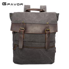 G-FAVOR Vintage Canvas Laptop Backpack Men Cover Computer Shoulder Bag Male High Quality Large Capacity Travel Bags(China)