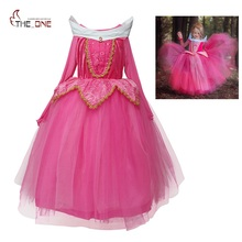 Girls Sleeping Beauty Princess Cosplay Party Dresses Children Long Sleeve Aurora Costume Clothing Kids Tutu Dress for Christmas