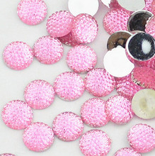 400pcs 12mm pink color cabochons Bling Round Rhinestones/Gems flat back embellishment resin /acrylic cab dotted crystal