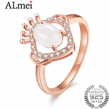 Almei Oval Jade White Beads Rings 925 Sterling Silver Rose Gold Color Jewelry Unique Engagement Rings for Women with Box CJ041(China)