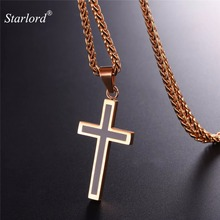 Starlord Cross Necklace&Pendant Stainless Steel/Rose Gold Color Chain For Men Trendy Christian Cross Chain GP952M(China)