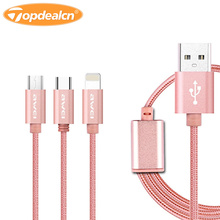 Awei CL- 970 Bluetooth Earphone Cable 1.2M 3 in 1 Nylon Braided Micro USB + Type-C + 8 Pin Charging Connector Data Cable