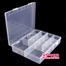 1pcs/lot 14 Grid Plastic Jewelry Boxes Acrylic Cosmetic Case Nail Art Pill Box Stones Tools Portable Storage Container Y2658