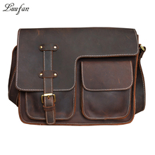 Men Vintage crazy horse leather messenger bag Genuine leather shoulder bag with big front pocket leather school bag fast post(China)