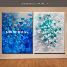 New Creative Hand Painted Modern Yellow Abstract Oil Painting Landscape Decorative Blue Painting On Canvas For Living Room Decor