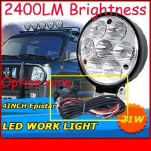 "Only 30USD/PCS,4"" 21W 2400LM 10~30V,6500K,LED working light;Free ship!Optional wire;motorcycle light,forklift,tractor light"