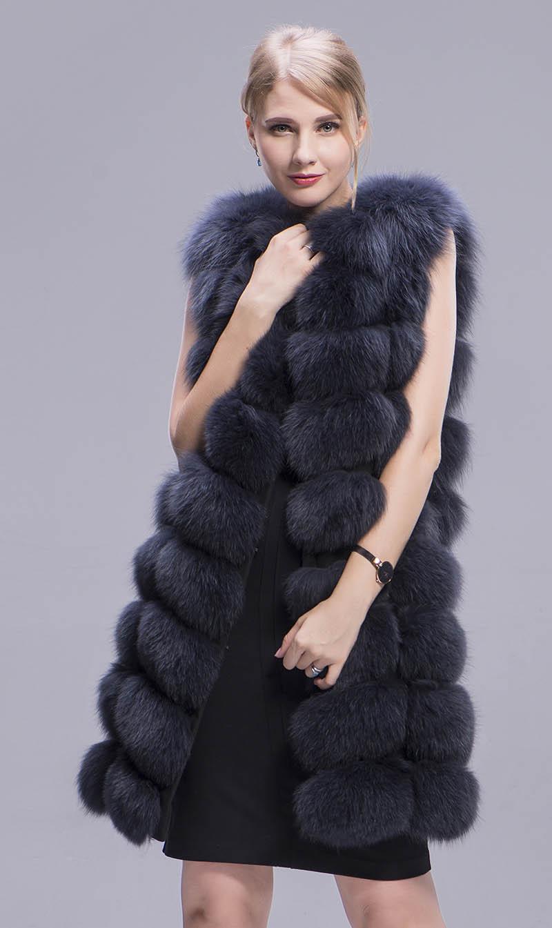 fox fur coat dark grey long 8