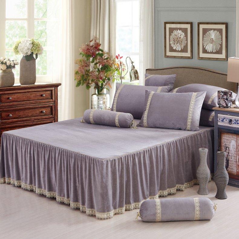 3Pcs Fleece Bed Skirt Set W/ Pillowcases, Mattress Protective Cover 25