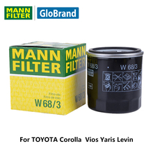 MANNFILTER car oil filter W68/3 for TOYOTA Corolla Vios Yaris Levin auto part(China)