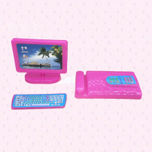 Dollhouse Miniature Modern Computer Keyboard Furniture Fax For Barbie Doll House Kids Toy Christmas Gift