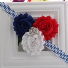 5pcs/lot 4th of July America Patriotic Red White Blue Shabby Rosette Flower FOE Elastic Kids Headbands Free Shipping(China)