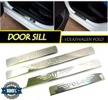 Door sill for VOLKSWAGEN POLO 2009-2010-2011-2012-2013-2014-2015 Sedan 4 pcs/set sill plates Car Styling Molding Accessories