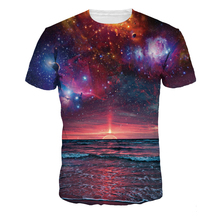 3D Starry sky pink clouds Print T-shirt Nice Ocean Night Piece Space Tees Men Short Sleeve O-Neck Tees Hiphop nasa t shirts(China)