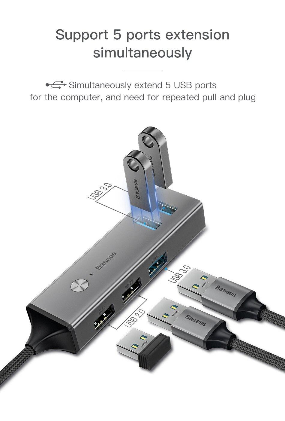Baseus 5 Ports USB C HUB to USB 3.0 OTG USB HUB Splitter High Speed 5Gbps For Macbook Computer Laptop Type C HUB USB 2.0 Adapter 2