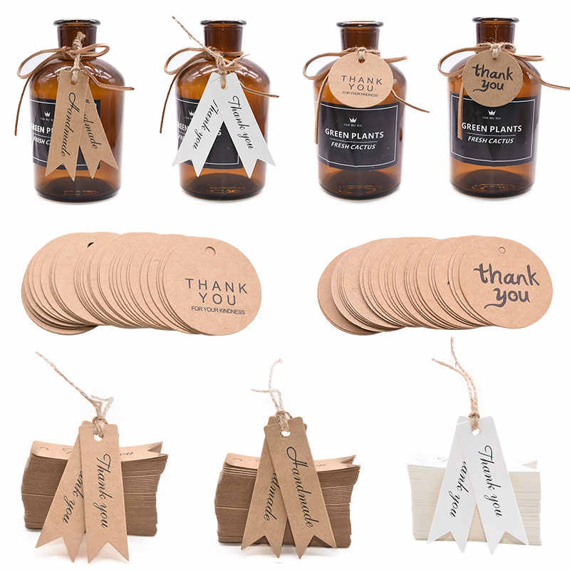 100Pcs Kraft Paper Thank You Hang Tag Handmade Gift Tag Label For Wedding Birthday Party Baby Shower Gift Tagging Package Decor