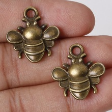 Hot Selling 6pcs/lot 22*20mm Antique Bronze Plated Bee Pendants Zinc Alloy Charms Jewelry Findings For DIY(China)