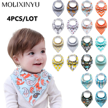 4pcs/lot Baby bibs For Boy&Girl burp cloths bandana bibs baby bandana Infant Waterproof Dribble Bibs Bandanas Bavoirs(China)