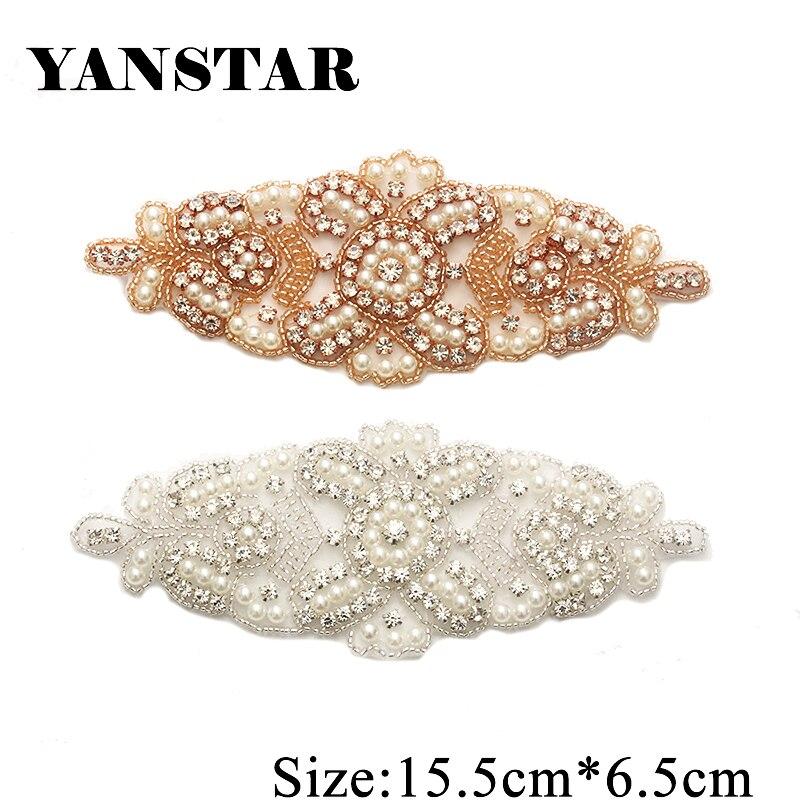 YANSTAR 30PCS Wholesale Bridal Gown Sash Rhinestone Applique Patch For Wedding  Dress Belt Clear Rose Gold e2777e1a5a3c