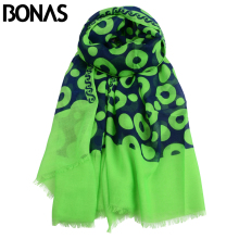 BONAS Soft Polyester Scarves Luxury Brand Womens Shawl Wrap Silk Chiffon Print Bandana Warm Scarf Shawls QS(China)