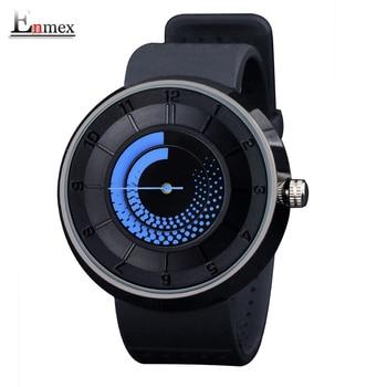 2016 dos homens Enmex presente criativo blue fire design relógio de pulso das mulheres dos homens respirar livremente strap sports relógios de quartzo moda casual