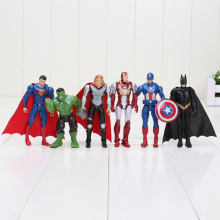 6pcs/set 10cm The Avengers figures super hero toy doll hulk Captain America superman batman thor Iron man Free Shipping