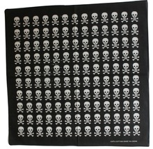 2017 New Fashionable 100% Cotton Black White Punk skull Head Bandana For Men