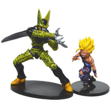 2 pcs/lot Dragon ball  z action figures toys gohan vs cell  2016 New 21cm/17cm Dragon ball z  Anime collectibles resurrection
