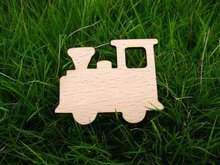 wooden car train toy brooch pin