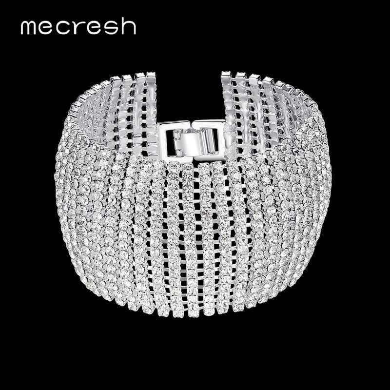 732c3495736a Mecresh кристалл свадебные браслеты для женщин со стразами в африканском  стиле подружки невесты Pulseira 2018 Свадебные