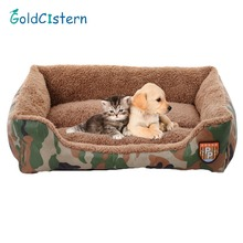 Soft Warm Pet Nest Cats Bed Jungle Camouflage Sofa Dog Bed House Cheap Cozy Rectangle Puppy Teddy Square Pet Bed(China)