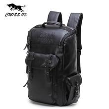 2017 Известный Бренд CROSSOX Мужской Функциональные сумки Моды для Мужчин рюкзак ПУ Кожа рюкзак большой емкости Мужчины пешеходные сумки HB561M(China)