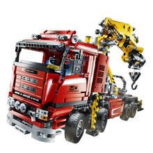 1877PCS LEPINE Technician series Electric truck crane  Brick Toys vehicle motor power function MOC building block gift for boy
