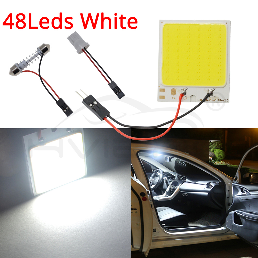 Hviero C5W Cob 24 36 48SMD chip White Reading Lamp led T10 Car Led parking Bulb Auto Interior Panel Light Festoon license plate lights