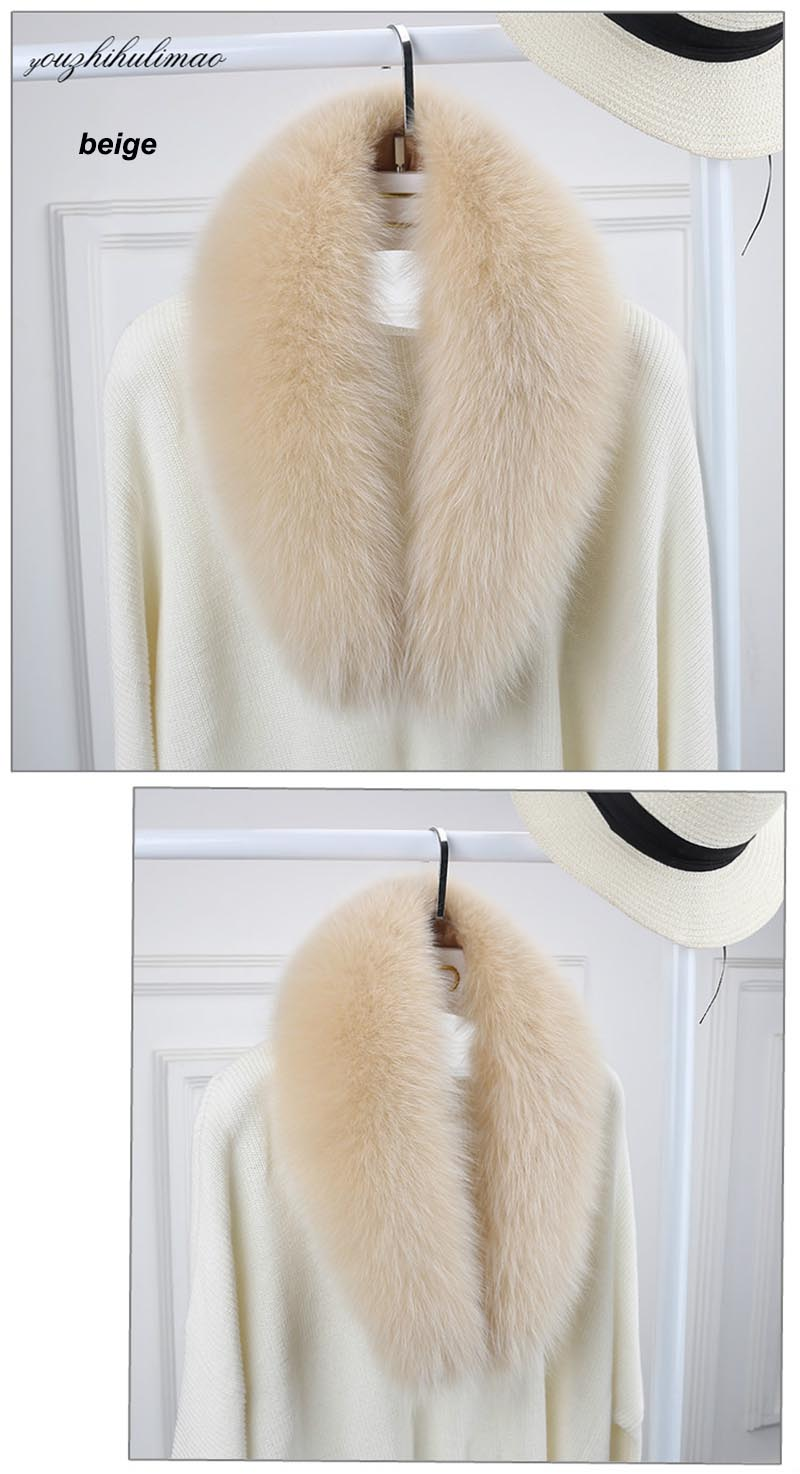 fox fur collar beige