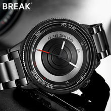 Break Black Camera Series Men Women Luxury Fashion Casual Stainless Steel Band Unique Sport Waterproof Quartz Watches for Man(China)
