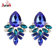 JURAN NEW Women Fashion Style Blue/Black/Pink Earrings Handmade Rhinestone Sweet Stud Crystal Stud Earrings For Women Girl W3106