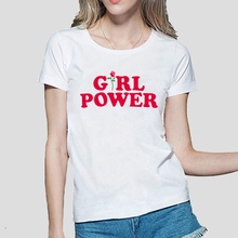Buy Girl Power Women T Shirt 2017 Summer New Arrival Slim Fit Cotton High T-Shirt Fashion Brand Tops Femme Tee Shirt for $4.20 in AliExpress store